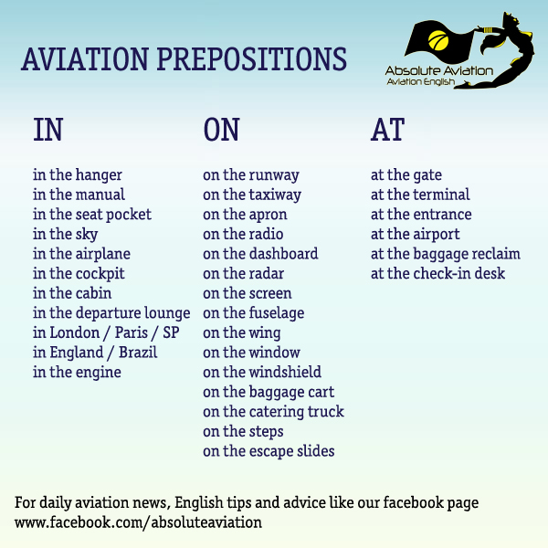 Prepositions for Aviation