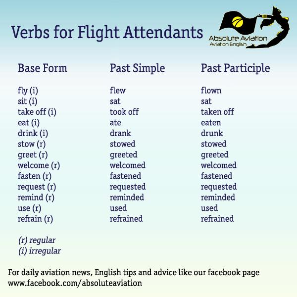 English Verbs for Flight Attendants